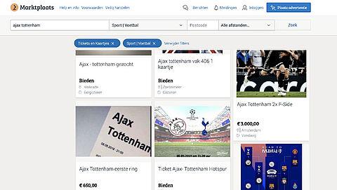 Politie waarschuwt voor nepkaarten Ajax-Tottenham