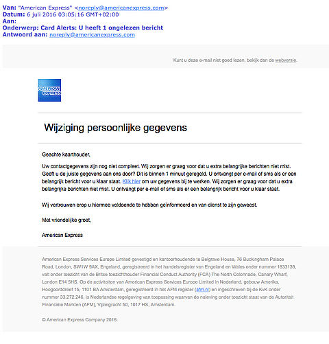 Valse e-mail American Express in omloop