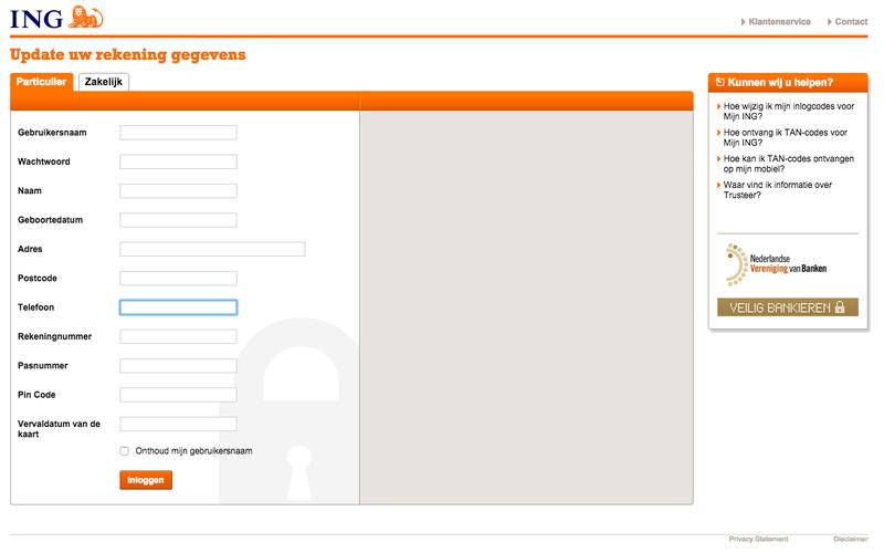 Phishing: 'Bevestig uw ING internetbankieren informatie'
