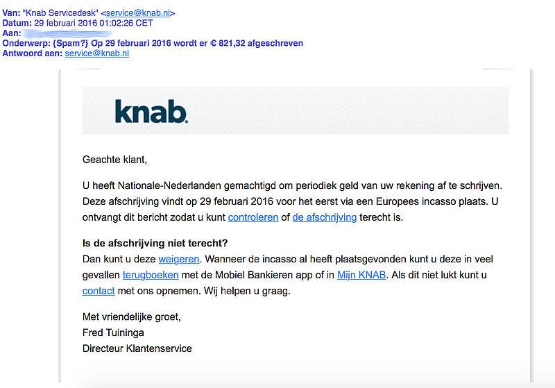 Phishingmail 'Knab' over afschrijving