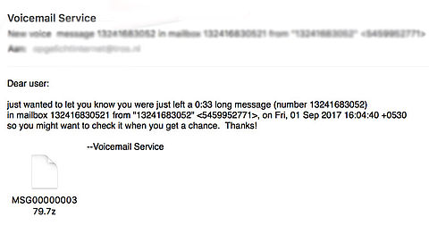 Pas op voor malware voicemail service