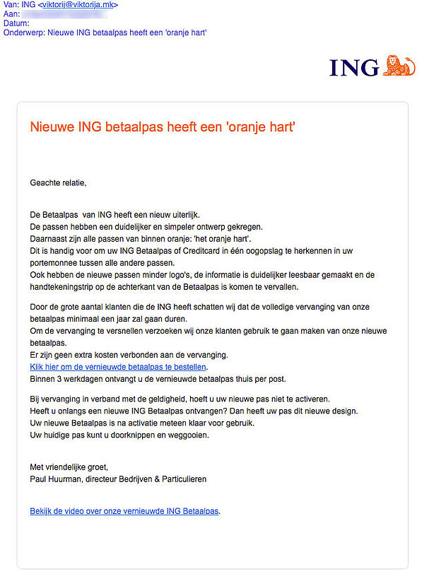 Phishingmail Ing Bevat Onjuiste Informatie Over Nieuwe Betaalpas