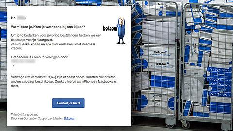 Mail van 'Bol.com' over cadeautje voor je bestellingen is vals