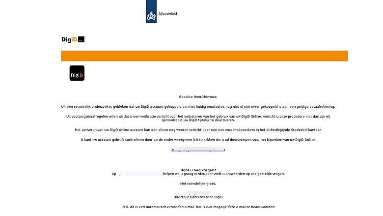 Valse mail uit naam van DigiD. Bron: Fraudehelpdesk