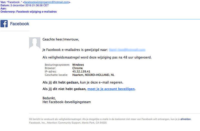 Phishingmail 'Facebook' over wijziging e-mailadres