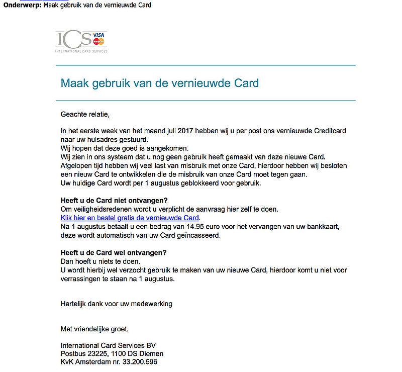 Valse e-mail 'ICS': Maak gebruik van de nieuwe kaart