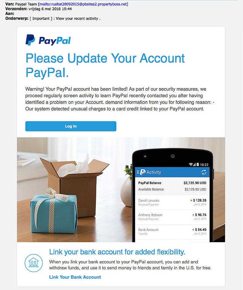 E-mail 'PayPal' bevat mogelijk malware