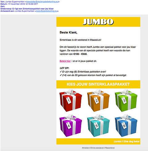 'Jumbo' stuurt Sinterklaaspakket