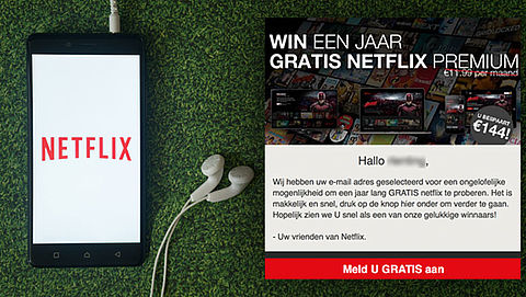 Winkans is nihil bij misleidende winactie 'Netflix'