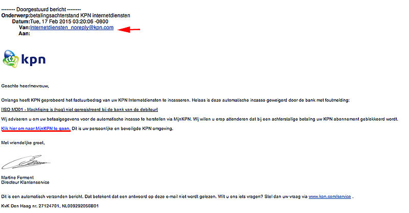 Valse mail KPN: 'incasso geweigerd'