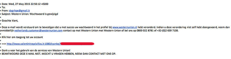 Valse mail van Western Union in omloop