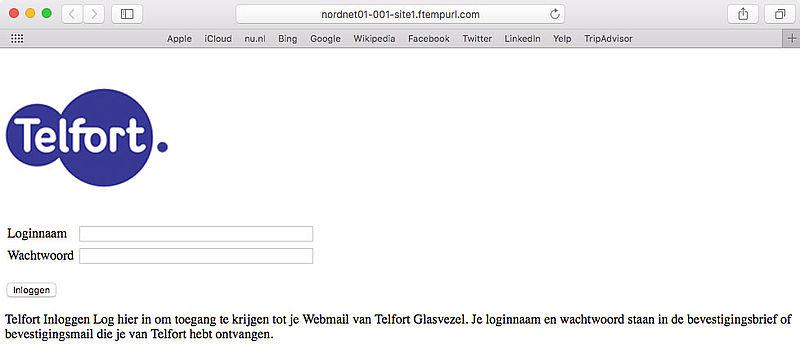Criminelen sturen phishingmail 'Telfort'