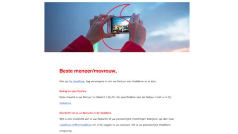 Er gaat een valse mail van 'Vodafone' rond