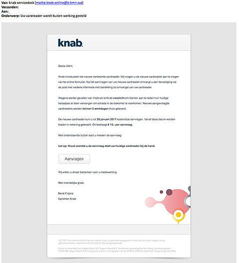 Valse e-mail 'Knab': Cardreader buiten werking gesteld