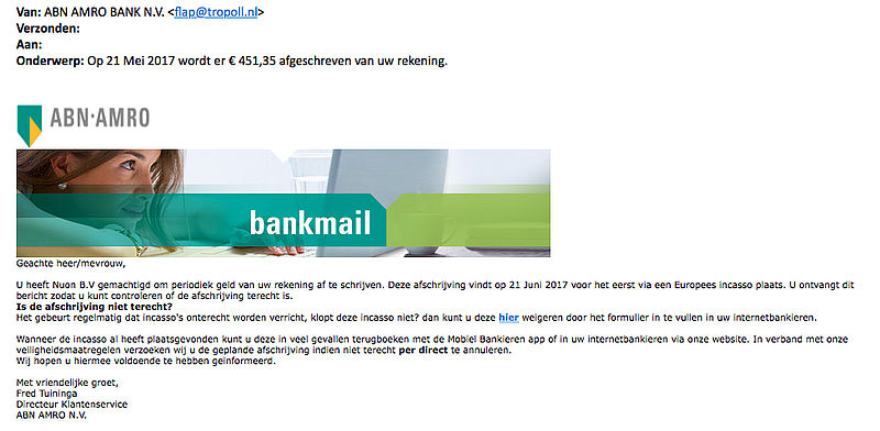 Valse e-mail 'ABN AMRO' over afschrijving Nuon