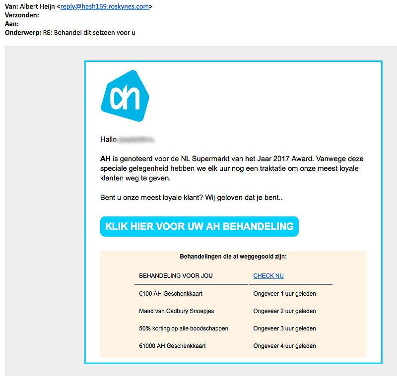 Let op: valse winacties 'Albert Heijn'