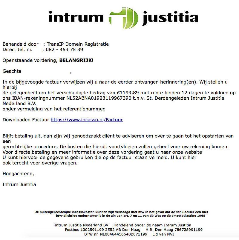Veel meldingen nepmail 'Intrum Justitia'