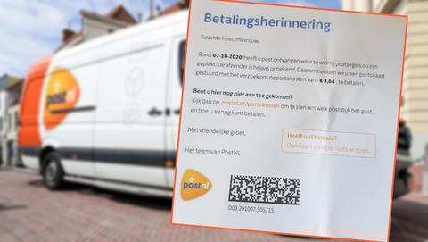 Briefje met betalingsherinnering van PostNL in de brievenbus: is dat oplichting?