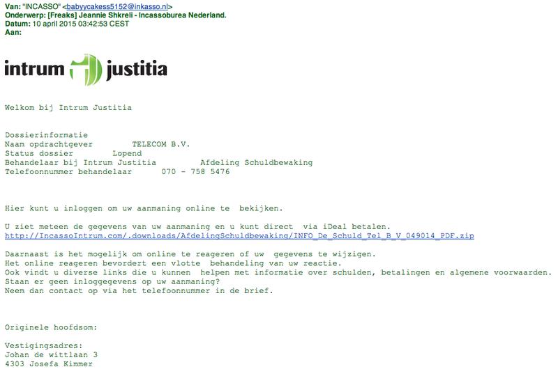Valse mail van Intrum Justitia bevat malware