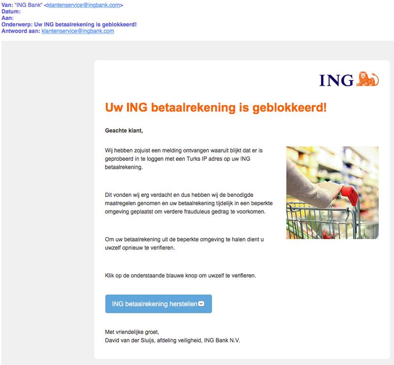 Valse e-mail: betaalrekening 'ING' geblokkeerd