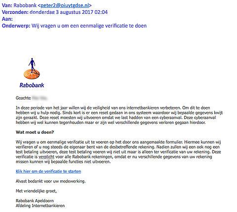 Pas op voor gepersonaliseerde phishingmail Rabobank