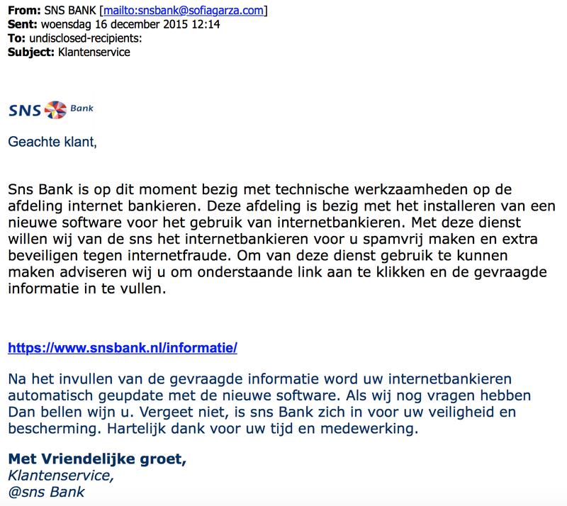 Phishingmail 'SNS' over beveiligingsupdate