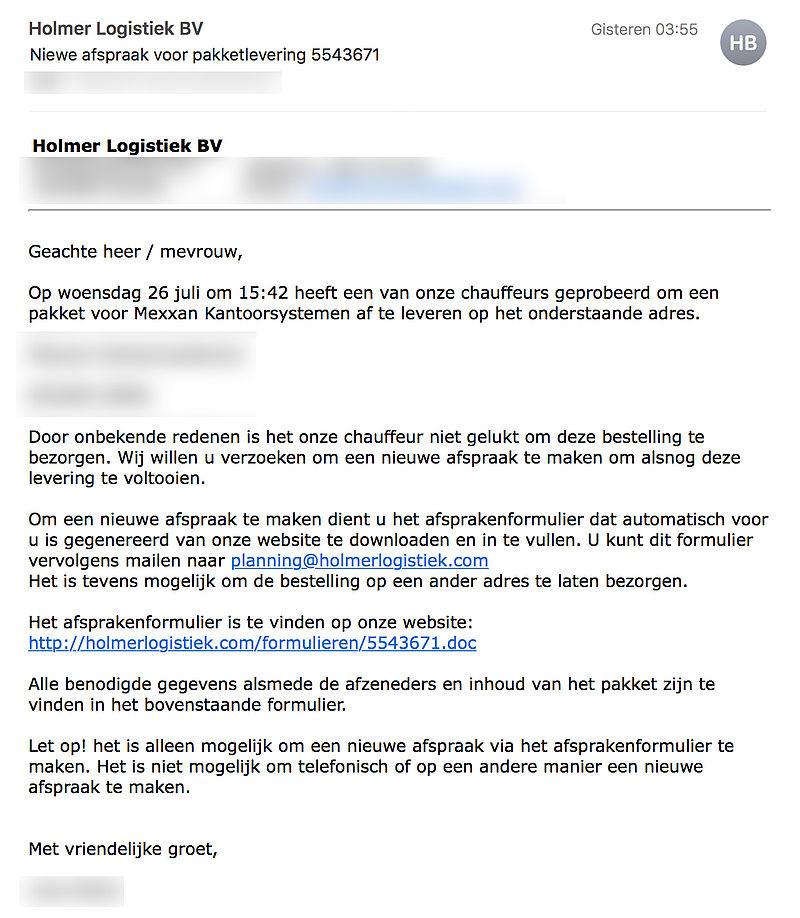 Malware in e-mails over pakketlevering