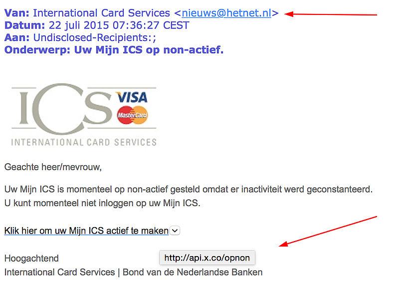 E-mail 'Mijn ICS op non-actief' is phishing!
