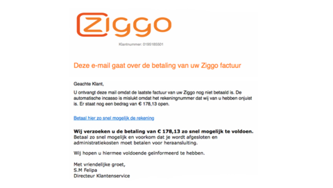Klant van Ziggo? Let dan op deze valse aanmaning