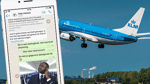 Trap niet in appje over gratis KLM-tickets