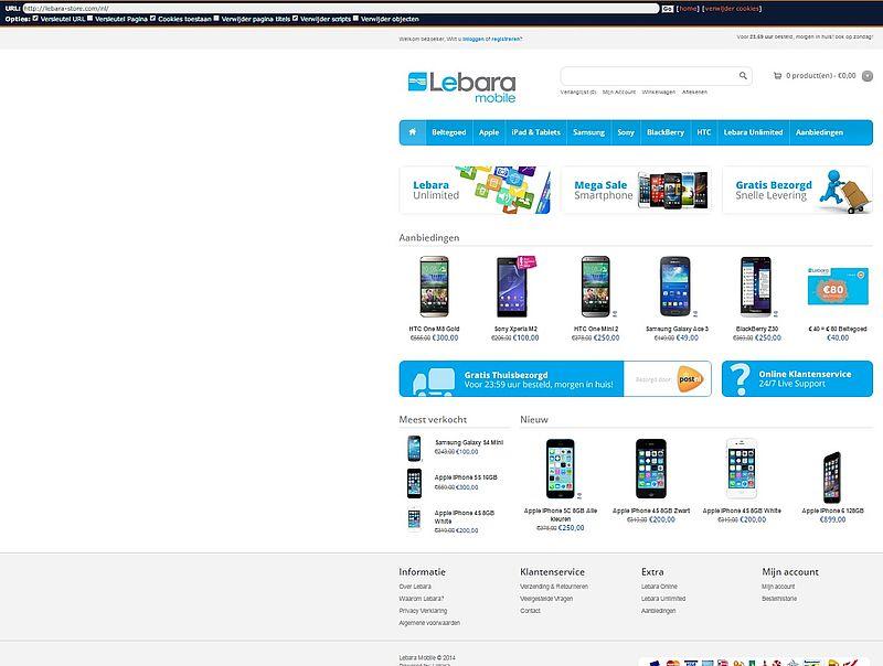 'Pas op voor veel te goedkope www.lebara-store.com'