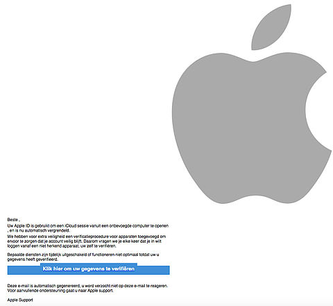 Let op: valse e-mail 'Apple' over verificatieprocedure