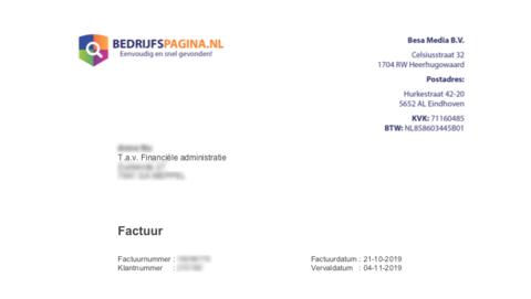 Overtuigende spookfactuur van 'bedrijfspagina.nl' in omloop