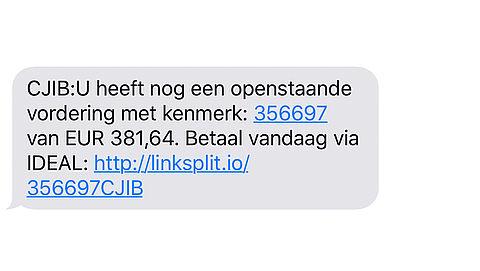 Opnieuw valse sms'jes van 'CJIB' verstuurd