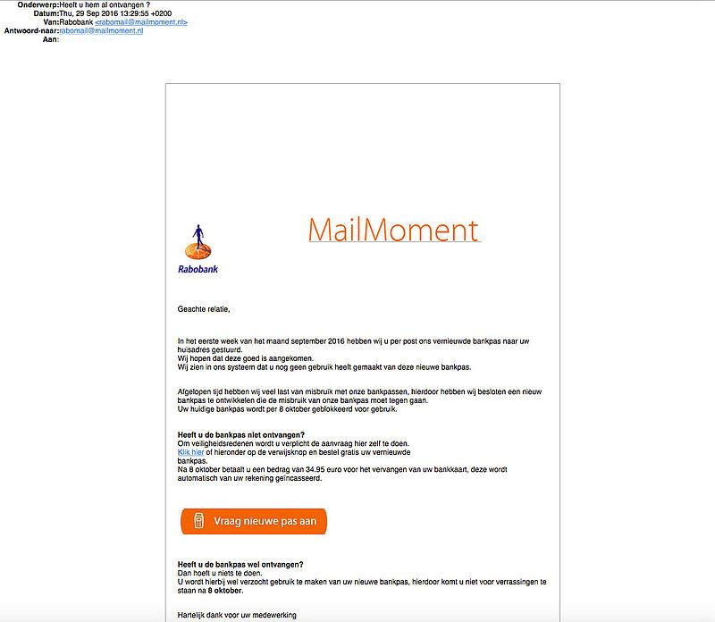 Phishingmail 'Rabobank' over nieuwe betaalpas