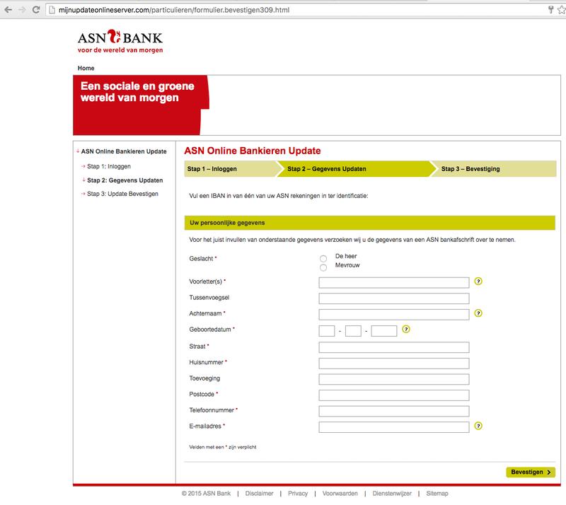 E-mail ASN 'Update op Online-Bankieren' is vals