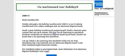 Phishingmail van American Express