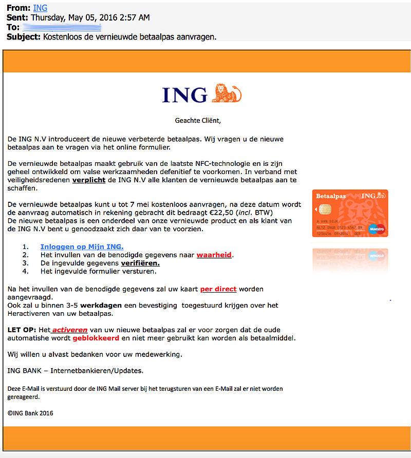 E-mail nieuwe betaalpas 'ING' is nep