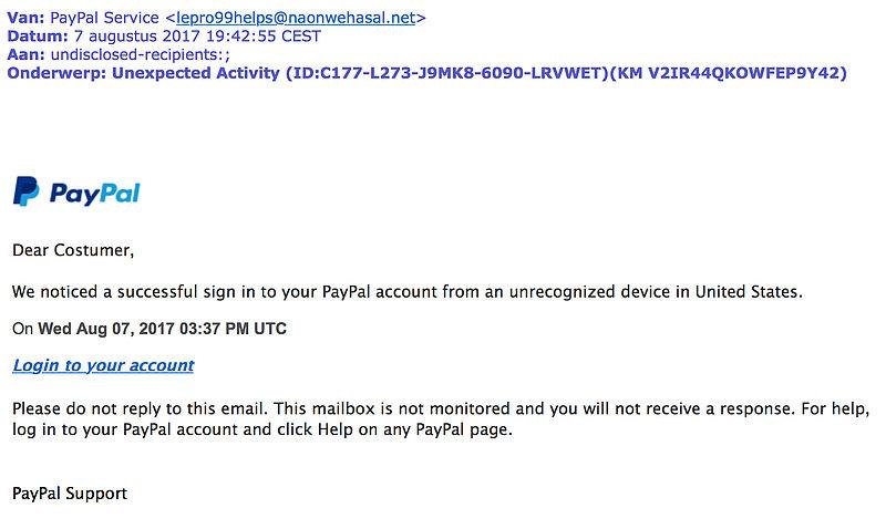 Engelstalige phishingmail PayPal in omloop
