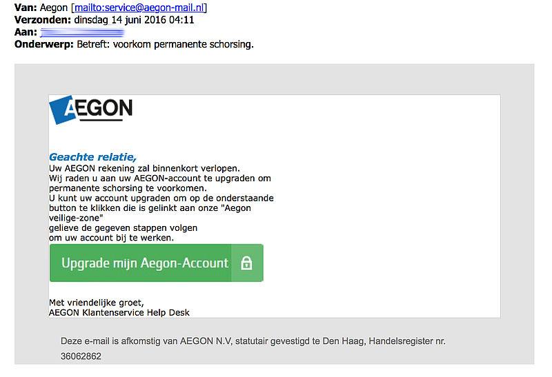 Valse e-mail uit naam van Aegon