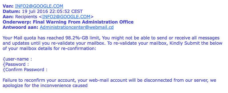 Valse e-mail Google: 'Final Warning'