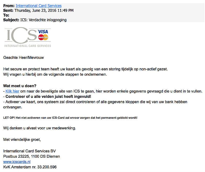Let op: valse e-mail uit naam van ICS