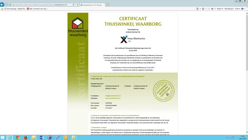 'Imaxelectronics.nl misbruikt logo en certificaat Thuiswinkel.org'
