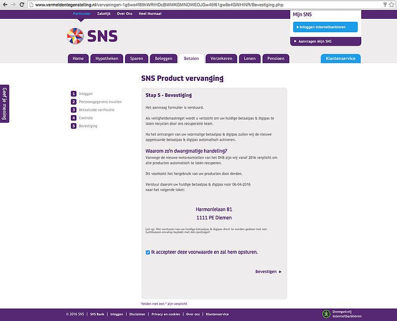 E-mail 'SNS' over vervangen producten is vals