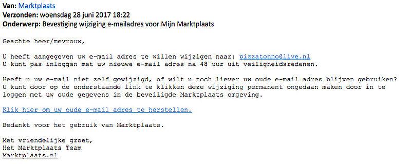 Let op: valse e-mail 'Marktplaats' over e-mailadres
