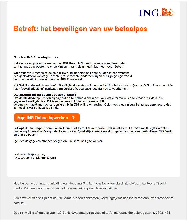E-mail 'ING' over beveiligen betaalpas is phishing