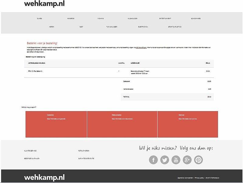 'Valse e-mail Wehkamp bevat malware'