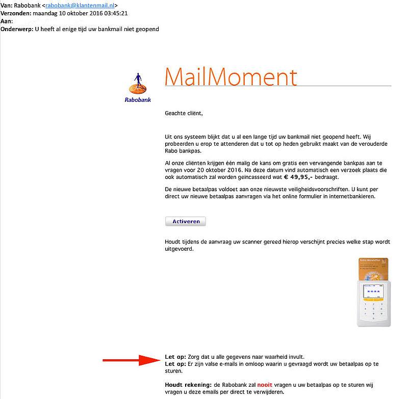 Valse e-mail 'Rabobank' nieuwe betaalpas