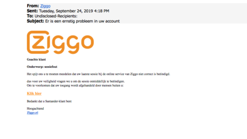 Er is een valse mail van 'Ziggo' in omloop