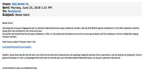 Fraudeurs sturen e-mail over nieuwe ING-app